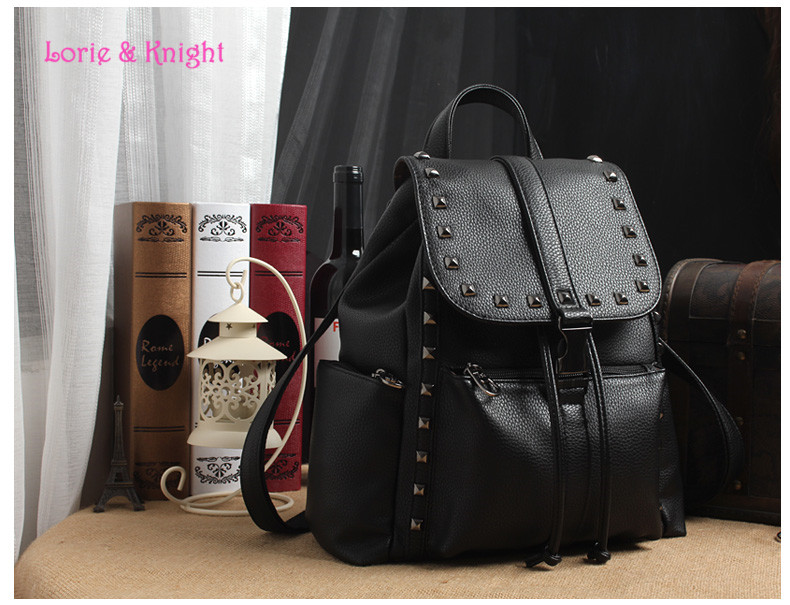 ФОТО Girls Black PU Leather Rivet Punk Backpack Fashion College Backpack Shoulder Bag