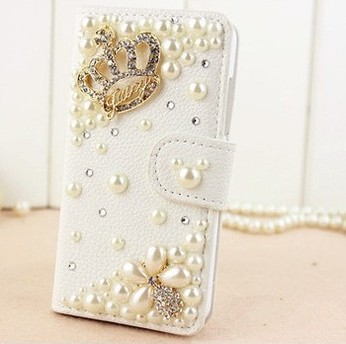 Luxury Crown Bling Diamond Flip Leather Wallet Pouch Case Cove rFor Samsung Galaxy Grand Prime G530 G530H G5308W - Emily Shaw's store