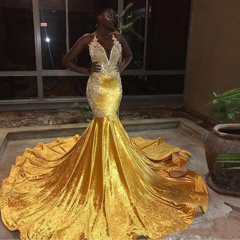 Reflective   Dress   Mermaid African Gold Yellow   Prom     Dresses   Long 2019 Sexy V Neck Appliqued Evening   Dress   Formal Party Gowns