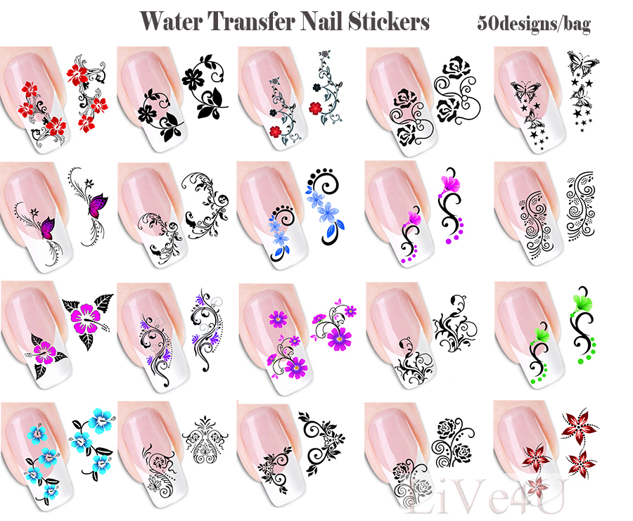 New Nail Stickers 50Sheets/Lot 50 Designs Flower Water Nail Water ...