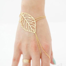New European and American fashion multi-layer charm hollow leaves Sen leaf bracelet female gold silver ladies