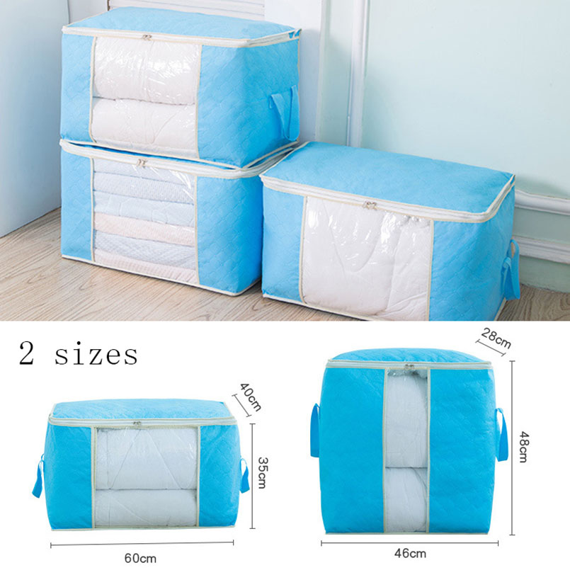 New Non woven Portable Clothes Storage Bag Organizer 45 5 40 22cm Folding Closet Organizer For Pillow Quilt Blanket Bedding Case in Storage Bags from Home Garden