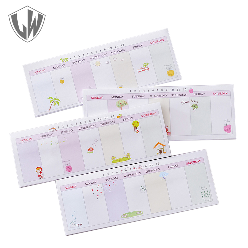 40 Pages each Memo Pad Week Plan Post It Note Sticker Pad Stationery Papeleria Sticky Notes Cute Stickers