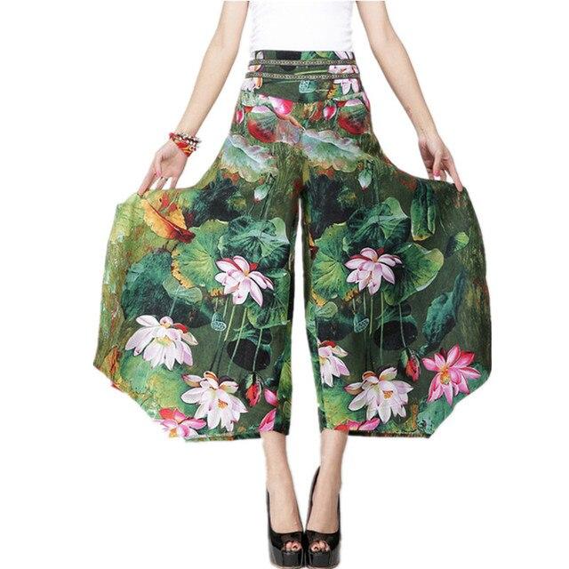 0147abfc64a 2018 Summer Palazzo Pants Women Cotton Linen Vintage Bottom Pantalon Femme  Clothes Elegant Trousers Ethnic Casual Wide Leg Pants