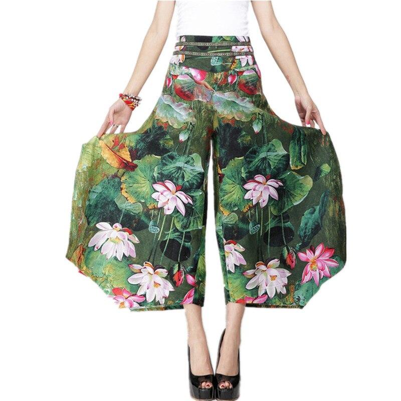 2019 Summer Palazzo   Pants   Women Cotton Linen Vintage Bottom Pantalon Femme Clothes Elegant Trousers Ethnic Casual   Wide     Leg     Pants