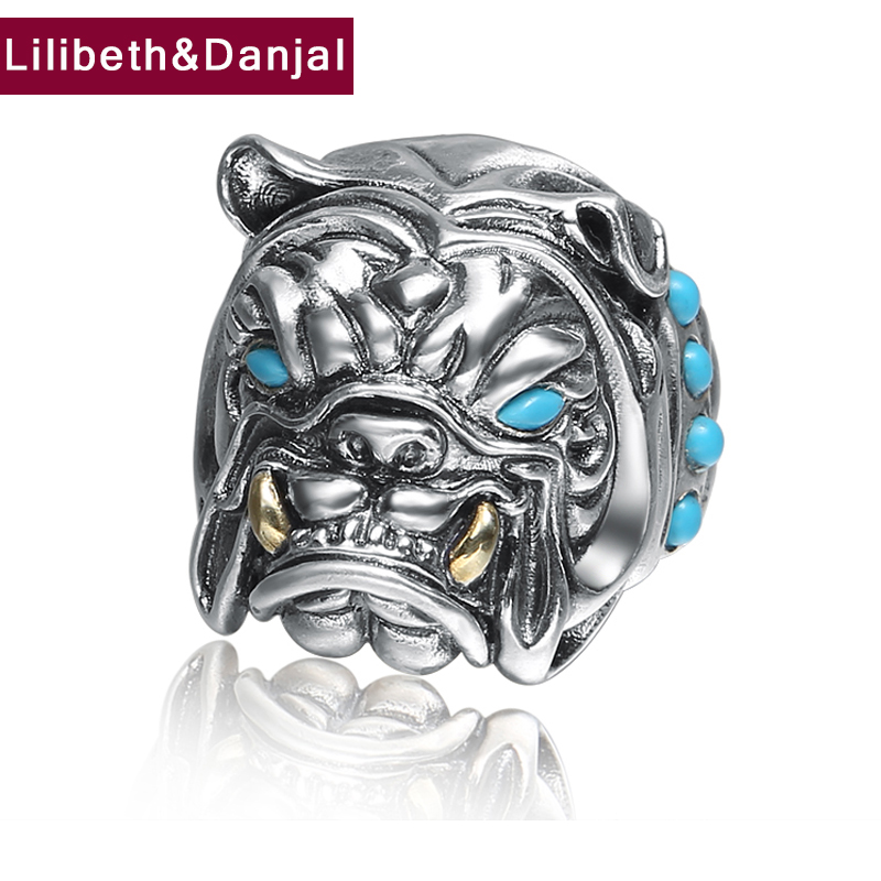 LOVE Men Women Opening Finger Ring 925 Sterling Silver Jewelry Inlaid Turquoise Bulldog Adjustable Ring Fine Jewelry 2018 FR73 мебель page 2