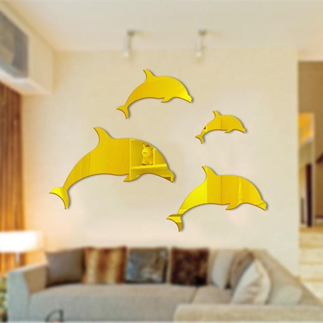 Neue Diy Kreative Kunst Wohnkultur 3d Dolphin Spiegel Wandaufkleber Acryl Wand Fliesen Wandtattoos Fr Kinder Wohnzimmer