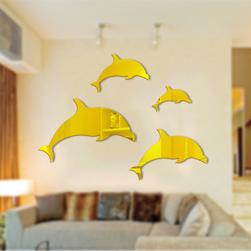 New DIY Creative Art Home Decor 3D Dolphin Mirror Wall Sticker ...