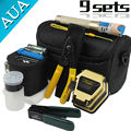 Envío libre 9 En 1 Kit de Herramienta de Fibra Óptica FTTH con SKL-6C Fiber Cleaver y Localizador Visual, Fiber Stripper óptica