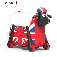 Cute Shaun the Sheep Shape Kids Ride on Suitcase Solid Children Toy Spinner Rolling Luggage Travel Bag Suitable For Kid