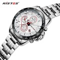 RISTOS Silver Steel Quartz Men Watch Top Brand Luxury Fashion Sport Male Watches Waterproof Calendar Military Wristwatch Relojes