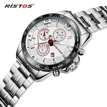 RISTOS Silver Steel Quartz Men Watch font b Top b font font b Brand b font