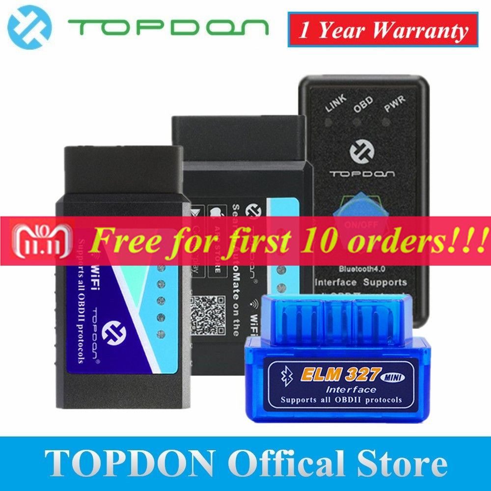 TOPDON V1.5 ELM327 Bluetooth OBD2 Scanner Automotive OBD Diagnose-Tool WIFI Automatisieren Super Mini ULME 327 Code Reader Scan Tool