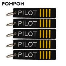5 pçs/lote POMPOM Piloto Chaveiros para Presentes Aviação Aviação Bagagem Tag Ponto Chave Chaveiros Chaveiro Llaveros Aviacion Jóias