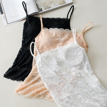 New Women Bra Sexy Lace Bustier Crop Top Black Cropped Blusas Vest Halter Tank Tops Camisole femme 0.07(China)