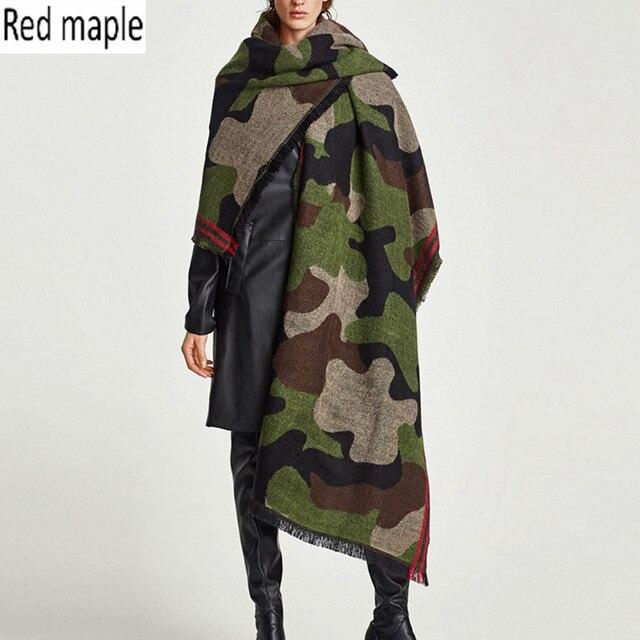 Red maple Camouflage Scarf Women Autumn Winter Warm Scarves Imitation Cashmere Shawl Luxury Brand Blanket Scarf Army Green Wrap