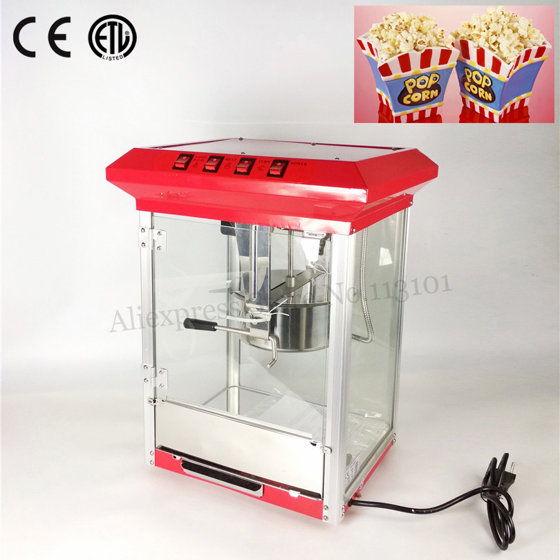 Popcorn Machine Commercial Corn Popper with Rotary Kettle 6oz Electric Heating Red Color 220V 1175W 10oz stainless steel 110v 220v electric commercial popcorn machine with temperature control