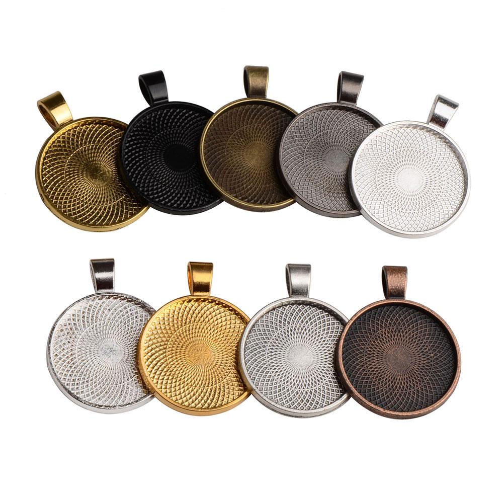 LFPU 10pcs 25mm Glass Cabochon Settings Jewelry Accessories Blank Cameo Base Trays Bezels Jewelry Fit DIY Fashion Jewelry Making