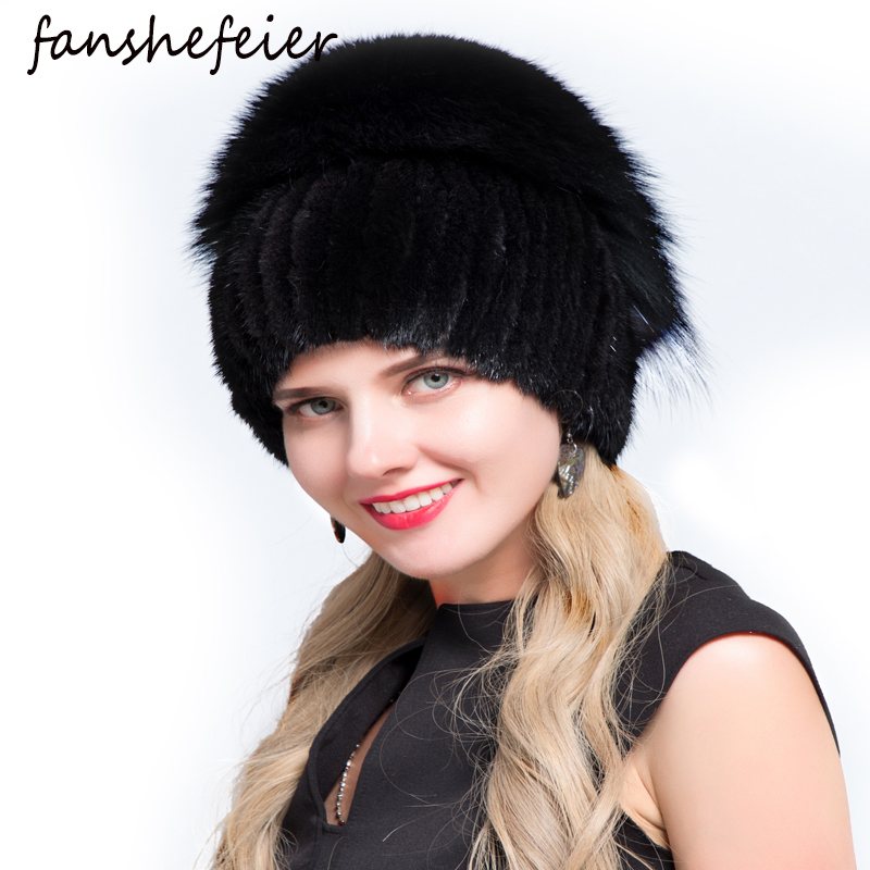 Fanshe Female High Quality Beanies Fashion Caps Real Fox Fur Hat Female Natural Mink Fur Women Winter Hats Vertical Rhinestone