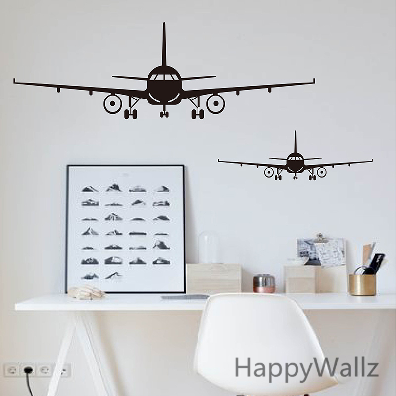 airplane wall stickers muraux wall decor airplane wall art decal decoration vinyl stickers. Black Bedroom Furniture Sets. Home Design Ideas