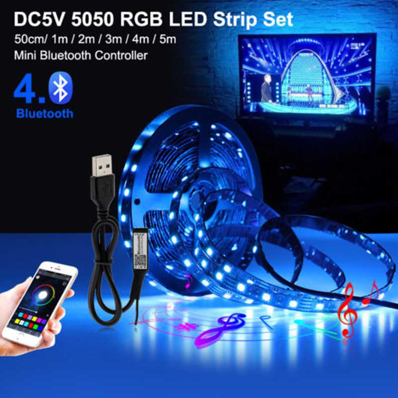 HKKZI شريط ليد مزود بيو إس بي ضوء 5V 5050 RGB للماء 0.5M-1M-2M-3M-4M-5M بلوتوث Wifi Led مصباح شريط التنغستن الشريط إضاءة خلفية للتلفاز تحكم