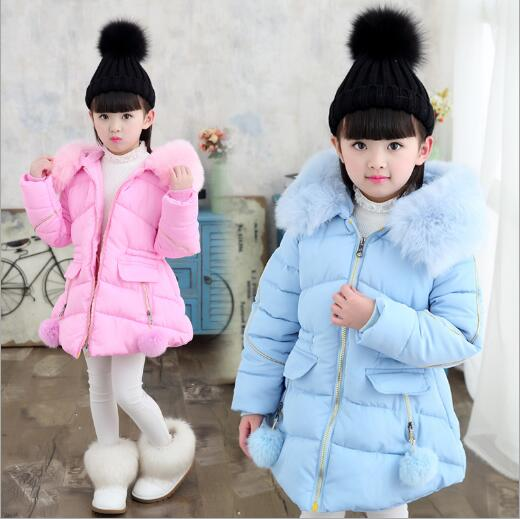 2018 Kids Winter Coat For Girls Fur Hooded Baby Girls Winter Jacket Cotton-Padded Parka Down Thick Children's Outerwear Clo winter girl jacket children parka winter coat duck long thick big fur hooded kids winter jacket girls outerwear for cold 30 c