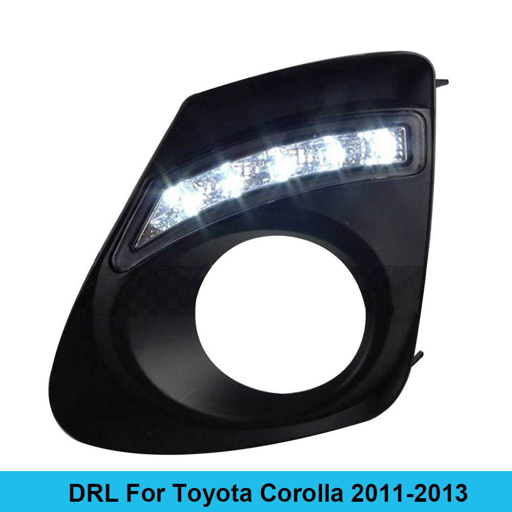 Car DRL kit for toyota corolla 2011 2012 2013 LED Daytime Running Light Bar fog lamp bulb daylight car led drl relay light 12V 12v 55w bulb car fog light lamp for 2003 toyota corolla ip67 free shipping