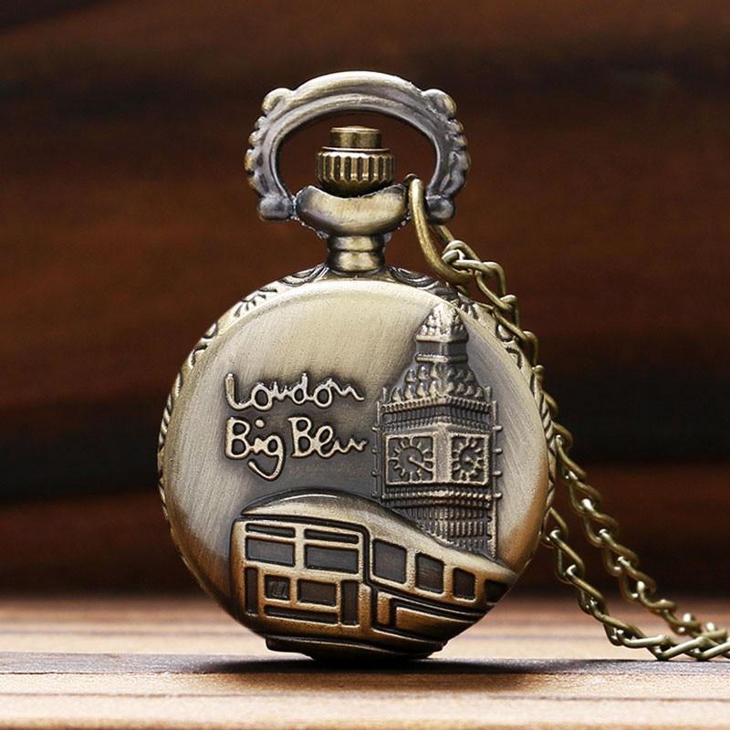Retro Pocket Watch London Big Ben Tower Pattern Pendant Necklace UK Fashion Small Clock Antique Souvenir Gifts For Friends Kids