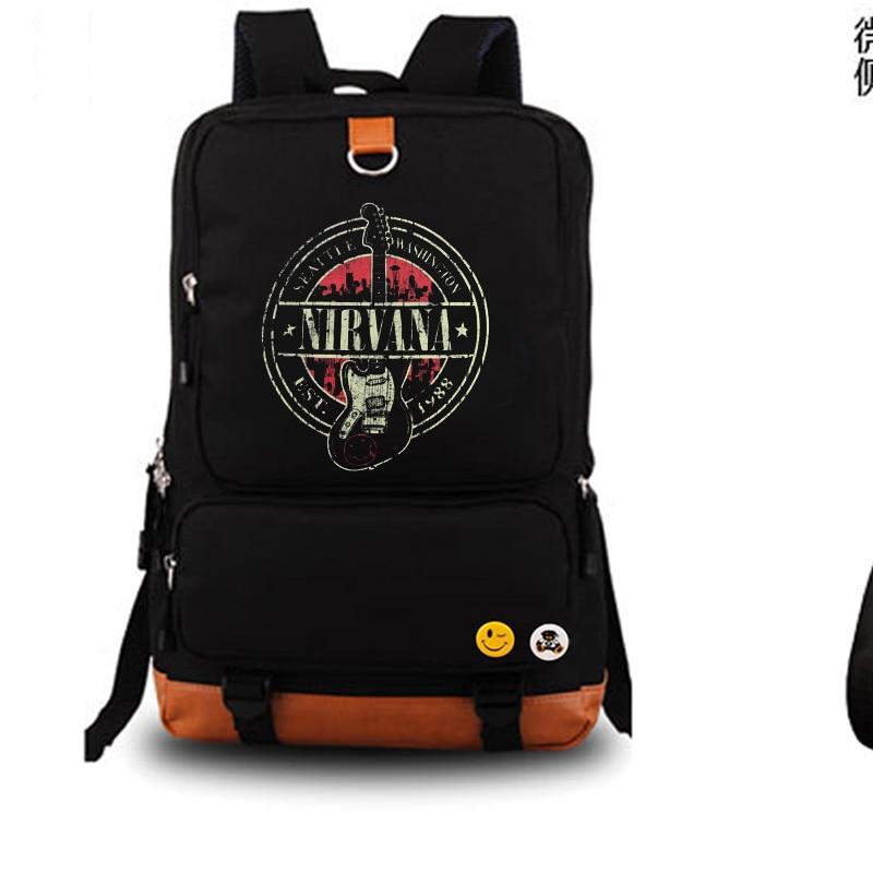 NIRVANA Rock Band Backpack Student School Bag Notebook Backpack Leisure Daily Backpack