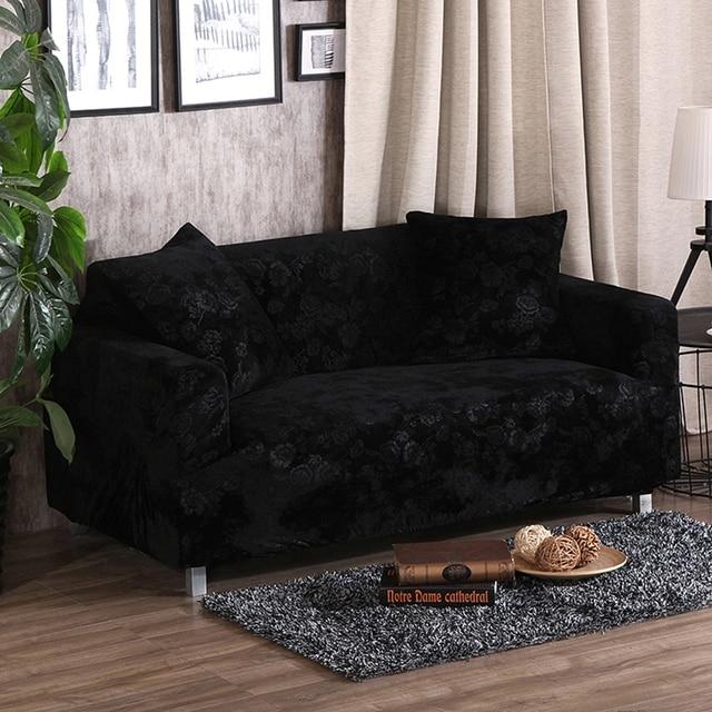 Sofa Sarung Hitam Murah Stretch Sofa Cover Untuk Ruang Tamu Solid