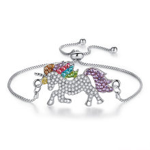 1Pcs Wrist Bracelet Trendy Unicorn Rhinestone Charm jewelry Chain Links Adjustable Bracelets For Women(China)