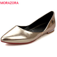 MORAZORA 2018 new style flat shoes women pu elegant pointed toe fashion shoes simple solid shallow big size 33 44 shoes woman
