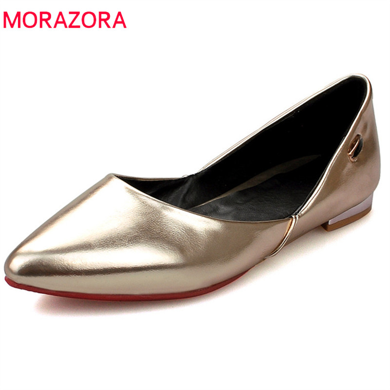 MORAZORA 2018 new style flat shoes women pu elegant pointed toe fashion shoes simple solid shallow big size 33-44 shoes woman стоимость