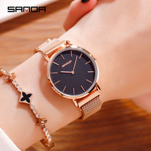 все цены на Fashion Minimalist Watch Women Luxury Brand Rose Gold Ladies Dress Wrist Watches Magnet Mesh Steel Waterproof Clock Female Gift онлайн