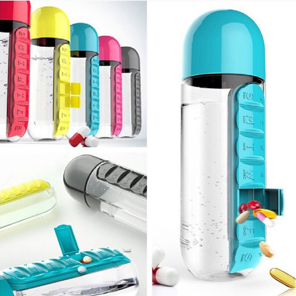 600ml My Water Bottle Fitness Mixer Sport Combination Daily Pill Box Organizer Drinking Sealed Leakproof Plastic Bottle Gift