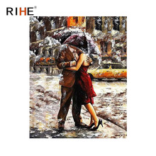 RIHE Hugging Lovers Oil Painting By Numbers Rainy Street Cuadros Decoracion Acrylic Paint On Canvas For Artwork Modern Art Decor