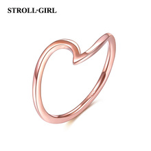 StrollGirl 2019 Genuine 925 Sterling Silver Simple Rose Gold Finger Rings With Symbol of Love for Women Weddings Gifts Jewelry