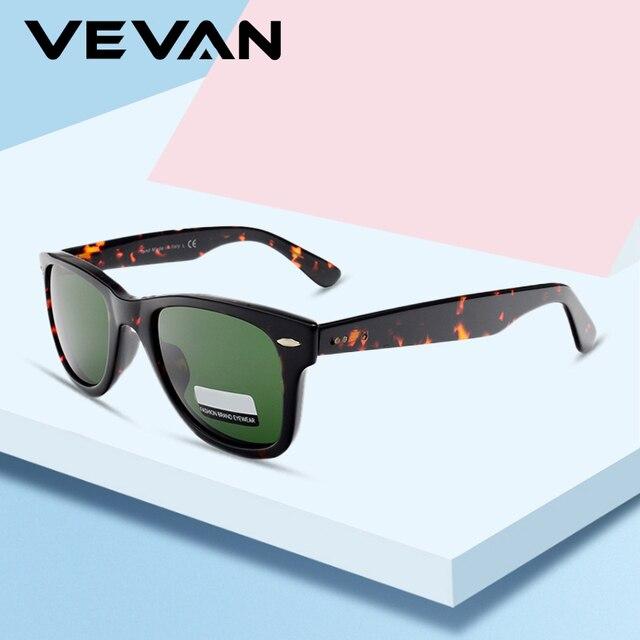 VEVAN Green Glass Lenses Luxury Sunglasses Women Brand designer Acetate Frame Sun glasses For women Multi Color Square Eyewear