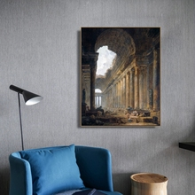 The Old Temple by Hubert Robert Wall Art Poster Print Canvas Painting Calligraphy Decorative Picture for Living Room Home Decor