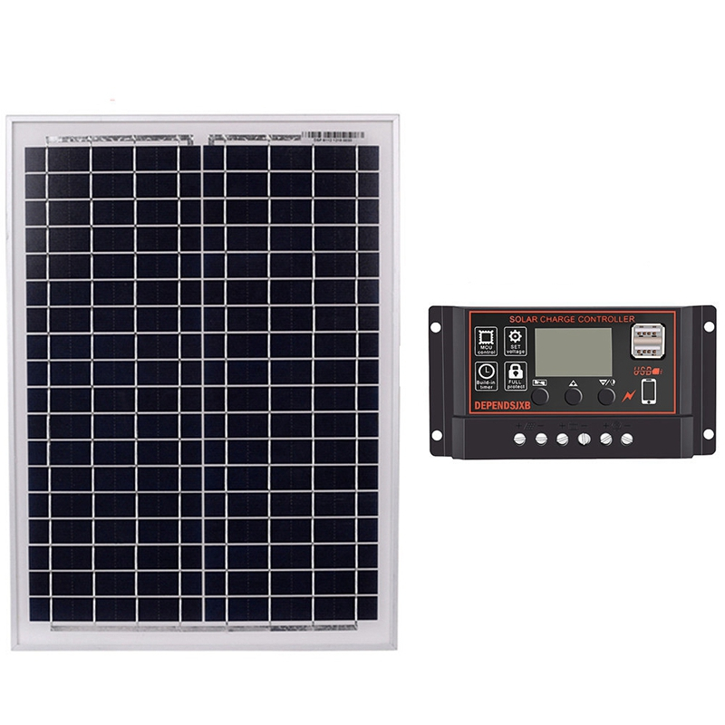Solar Panel 18V20W Black Solar Panels + 12V/24V Solar Controller With USB Interface Battery Travel Power SupplySolar Panel 18V20W Black Solar Panels + 12V/24V Solar Controller With USB Interface Battery Travel Power Supply