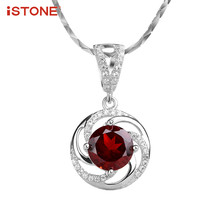 Jewelry Accessories - Fine Jewelry - ISTONE 100% Natural Gemstone Red Garnet Round 925 Sterling Silver Pendant Necklace Fine Jewelry Gift For Girl Valentine