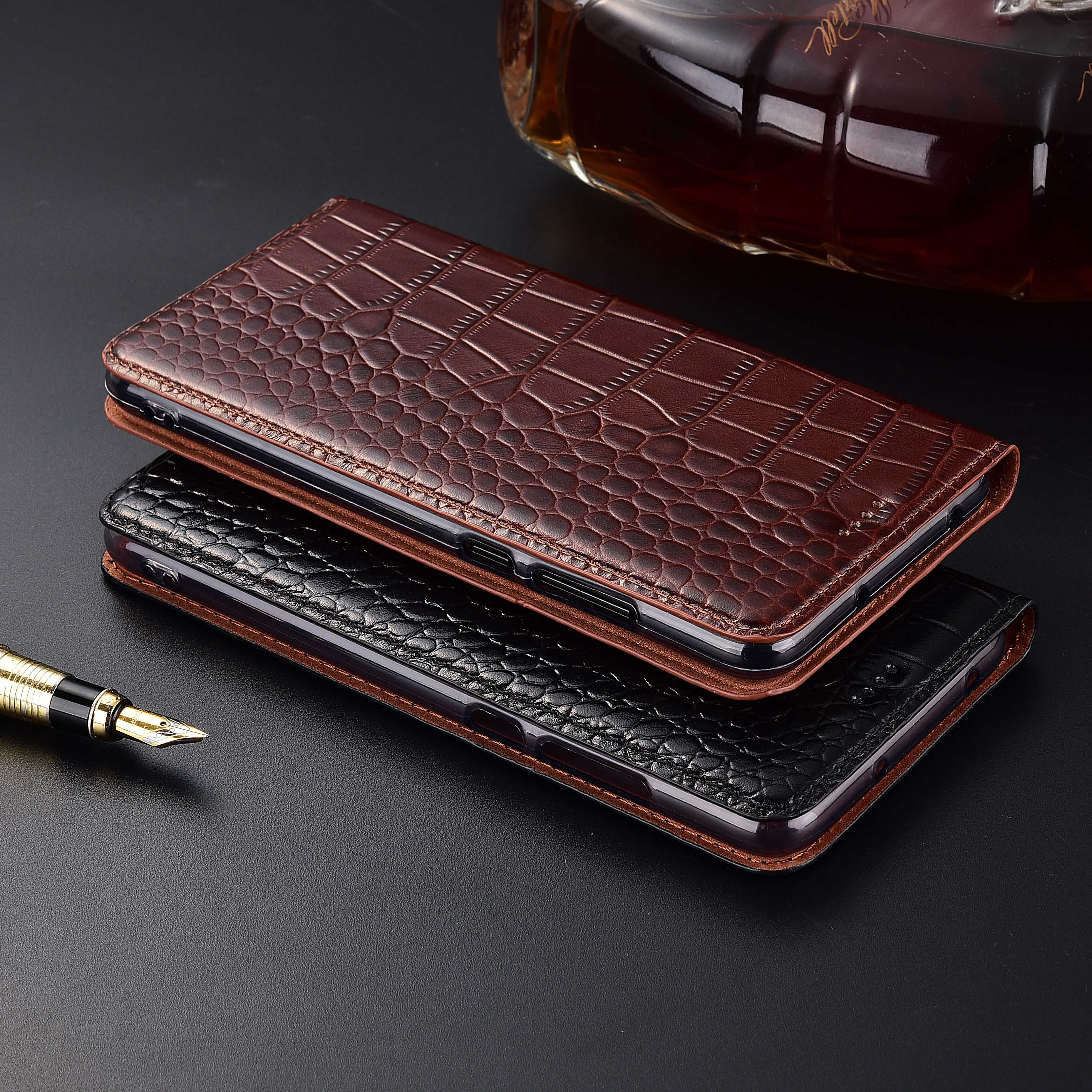 Natural Genuine Cow Leather Cover Case For Lenovo ZUK Z2 Crocodile Grain Flip Stand Phone Cover Case Pakistan
