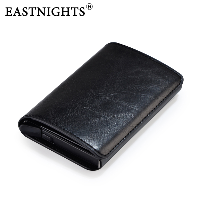 EASTNIGHTS Credit Card Holder Men Business Card Case Women Rfid Automatic Pop Up Metal Bank Card Holder Aluminium Wallet TWB036