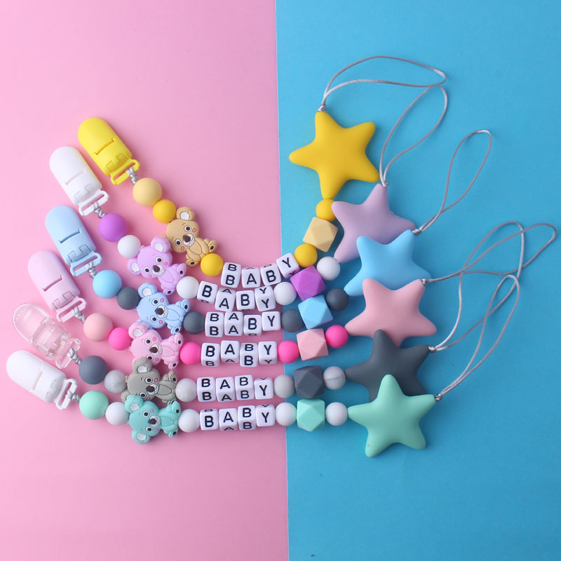 Baby Pacifier Clips Cartoon DIY Pacifier Chain With Silicone Beads Plastic Holder Infant Feeding Teething Chew Toys Dummy Clips