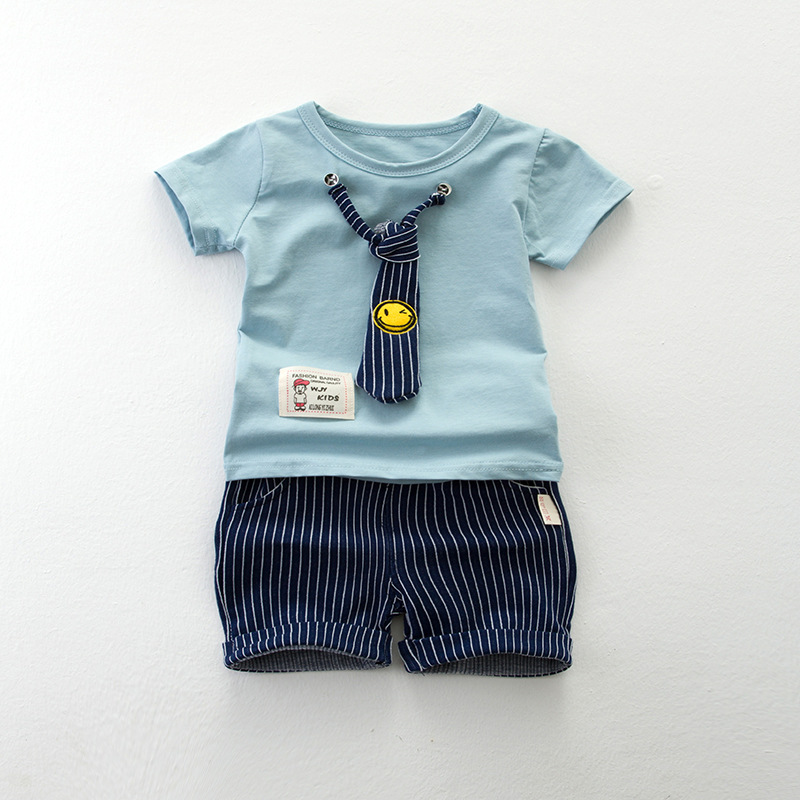 GentlemaN Baby Boys Clothes With Tie Summer Baby Boy Clothing Sets Casual Sport Suits Cotton Kids Children Clothes for Boys spring kid boys girls print sweater with hat children casual clothing 2016 children s sets summer kids baby boy clothes 2987
