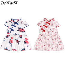 Baby Girls Clothes Summer Short Sleeves Chinese Traditional Cheongsam Dresses Outfit Infant Jumpsuit Cotton Clothing Costume