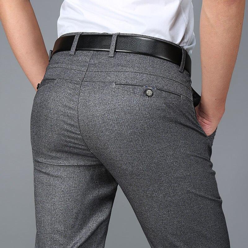 2017 Estate Sottile Di Mezza Età Di Sesso Maschile Pantaloni Dell'abito Di Affari Degli Uomini Casual Pantaloni In Poliestere Metà Di Vita Sciolti Direttamente Pantaloni Homme Caldo E Antivento