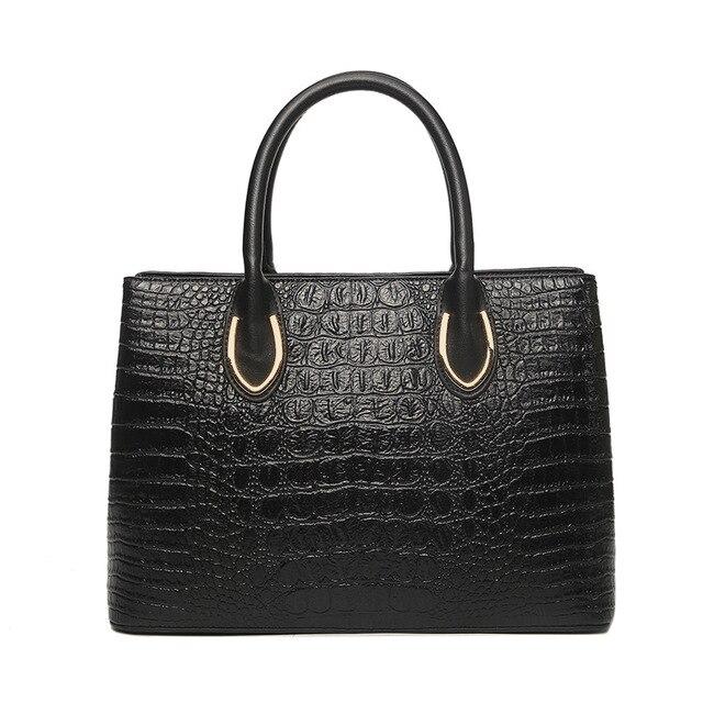 Classic Alligator Tote Handbags For Women 2018 Vintage Leather Crossbody Bag European American Style Lady Stylish