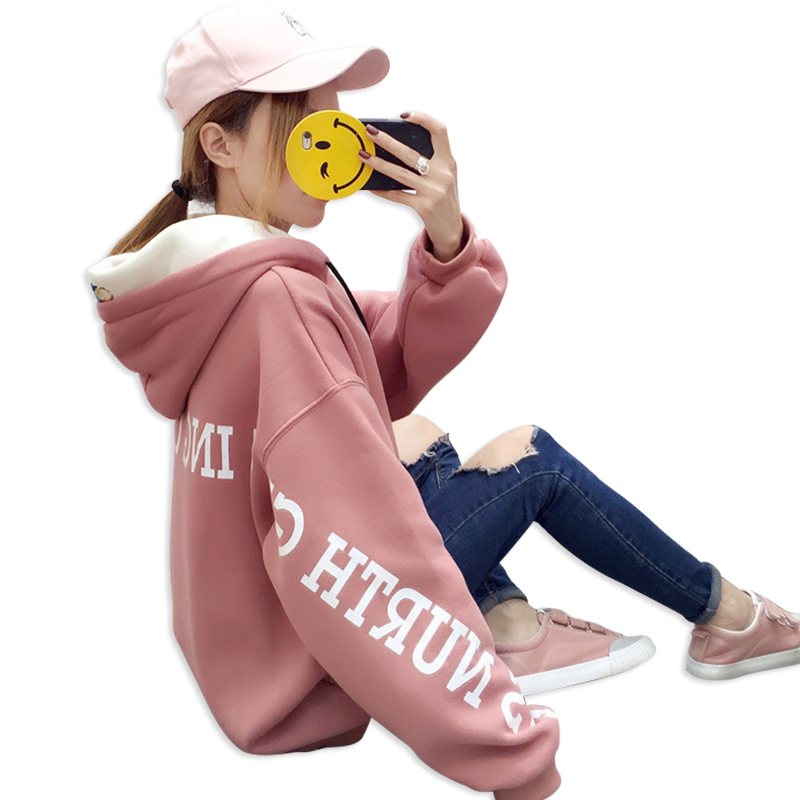 2018 New Korean Hoodies Women Casual Loose Womens Hooded Sweatshirts Plus Velvet Thicken Oversized Top Autumn Winter Russian Hot