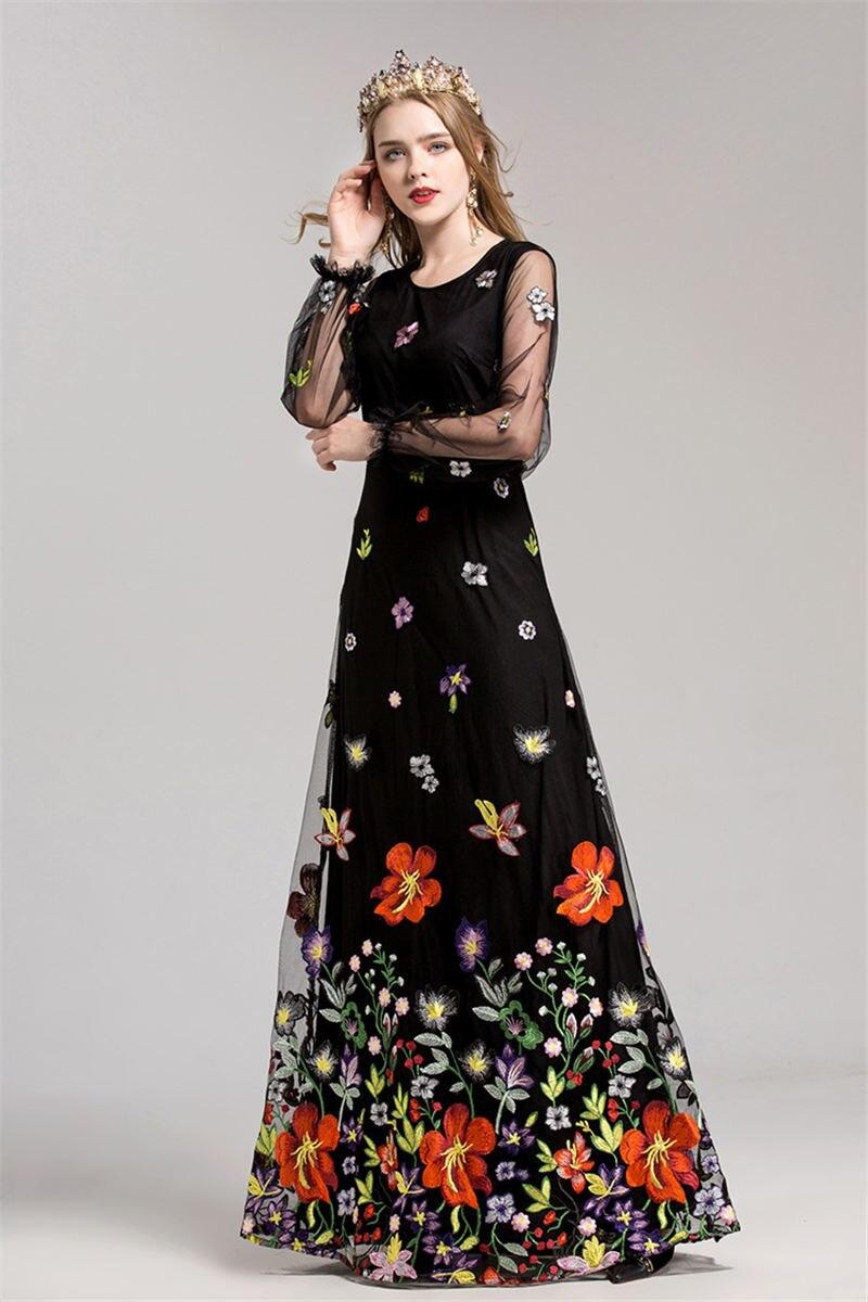 HTB1oDrjiZrI8KJjy0Fhq6zfnpXaH - 2018 Spring High Quality Mesh Floral Embroidery Long Dress Full Sleeve Vintage Flower Black Runway Designer Maxi Women Desses